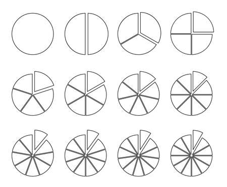 Circle outline chart. Fraction pie divided into slices. Round infographic segments