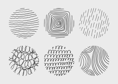 Circle creative minimalism contemporary artwork. Hand drawn doodle shapes.
