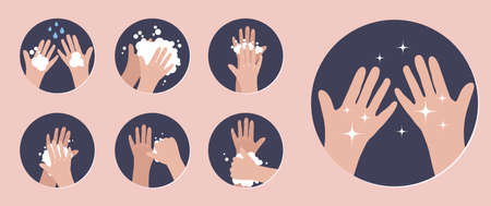 Wash your hands. Infographic steps how washing hands properly. Prevention against virus and infection. . Vector illustration 向量圖像