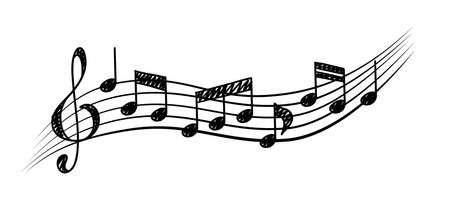 Music notes. Staff treble clef notes. Musical rhythm concept