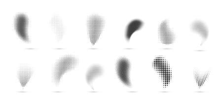 Halftone gradient shapes. Dots comic effect. Vector illustration 向量圖像