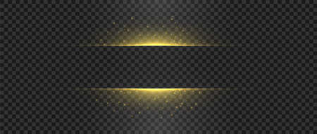 Golden lights and sparks. Gold flash sparkle. Horizontal vector glowing shapes