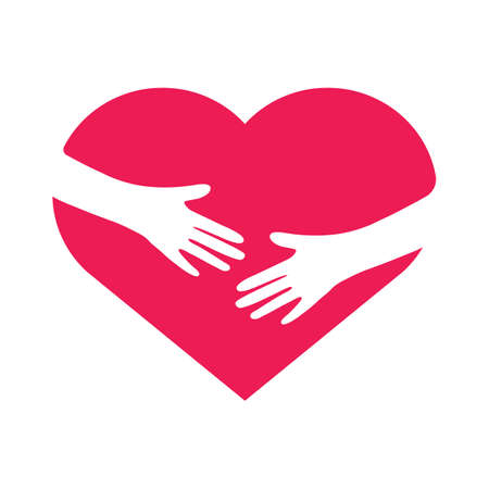 Hand embracing heart. Love yourself concept. Volunteer support flat sign. Vector illustration.