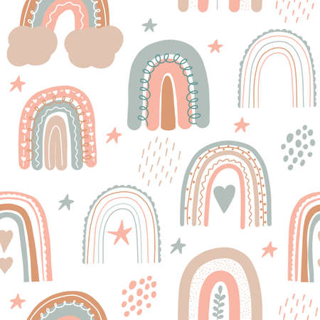 Rainbow seamless pattern. Scandinavian print for nursery room. Kids pastel doodle handdrawn print. Vector illustration.