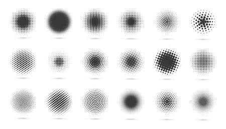 Circle halftone set. Modern dotted circles halftones. Black dotwork gradients