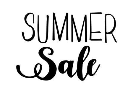 Summer sale lettering. Handwritten trendy phrase. Vector illustration.