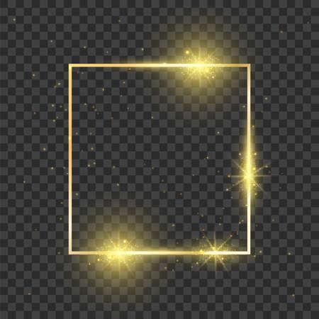 Gold square frame. Glowing effect rectangle shiny shape. Dark magic luxury magic decoration