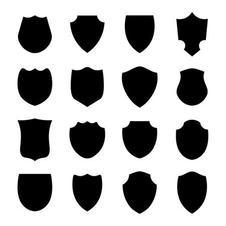 Police shield black shape. Heraldic shields blank emblems. Security vector labels.