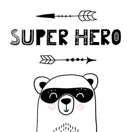 Super hero bear. Cute nursery poster for kid apparel. Funny scandinavian style hand drawn print 向量圖像