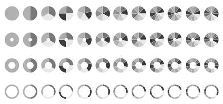 Circle pie charts. Round diagram. 2,3,4,5,6,7,8,9,10,11,12 sections or steps.