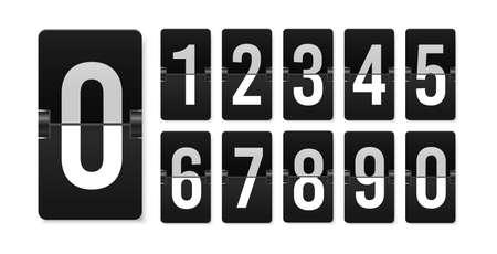 Countdown scoreboard numbers. Score vector realistic timetable. Mechanical retro airport flipboard. Counter mockup