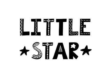Little star. Cute hand drawn poster with lettering in scandinavian style. Phrase fornurcery room. Vector illustration. 向量圖像