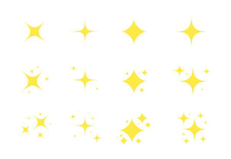 Yellow sparkles. Gold stars sparkle icon. Glowing decoration twinkle. Vector shiny flash illustration 向量圖像