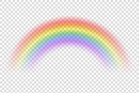 Realistic rainbow. Sky magic spectrum color after rain on transparent background. Vector fantasy effect 向量圖像