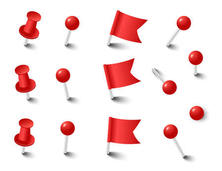Red pins tacks flags. Attach buttons on needles, pinned office thumbtack. Vector illustration. 向量圖像