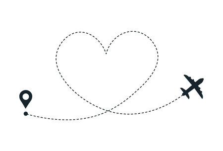 Love plane route. Airplane heart line path. 向量圖像