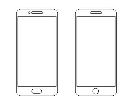 Outline mobile phone icons. Simple cellphone silhouette. Vector line smartphone 向量圖像