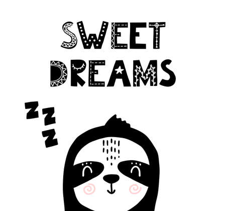 Sweet dreams scandinavian nursery poster. Nordic sleep time print with sloth. Vector childish illustration