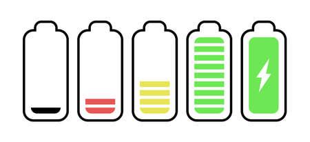 battery level indicators. Charging level batteries charge indicator.