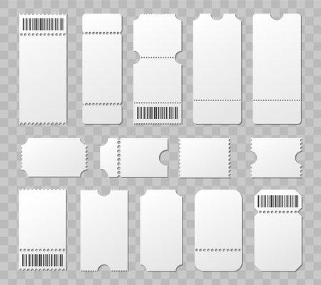 Blank ticket mockup template. Movie lottery realistic blank tickets. Vector empty flyers. 向量圖像