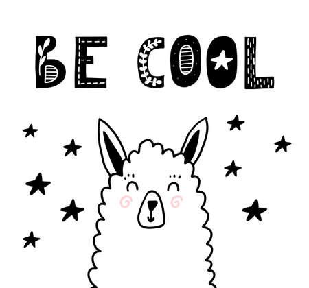 Be cool scandinavian poster with llama. Vector nursery room decor.