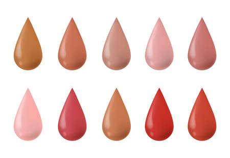 Foundation drops. Make up liquid bb cream foundation beige tints. Red lipstick tone. Vector illustration.