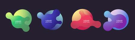 Liquid shape. Fluid abstract dynamic wavy banners. Vector futuristic template.