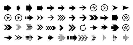 Arrows. Arrow direction signs. Set up pointer buttons. Vector collection