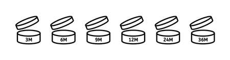 PAO icons. Period after opening. 3, 6, 9, 12, 24 36 months. Vector open cosmetic sign