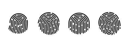 Fingerprint icons. Vector finger print touch ID illustration. Verification code