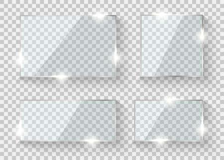 Glass frame. Shine glossy banner or window. Vector realistic framework panel template 向量圖像