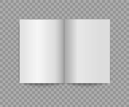 Blank opened book mockup. Empty brochure template. Vector realistic booklet.