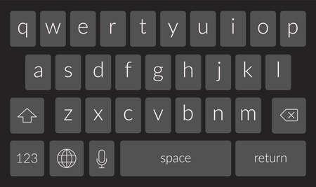 Mobile phone keyboard template. Qwerty smartphone vector keypad. Digital ui screen touchscreen font 向量圖像