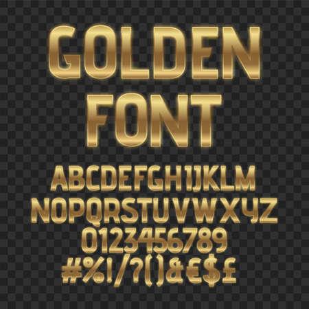 Gold luxury letters. Golden font. Elegant metal effect. Vector gloss typography. Fashoin digital fonts 向量圖像
