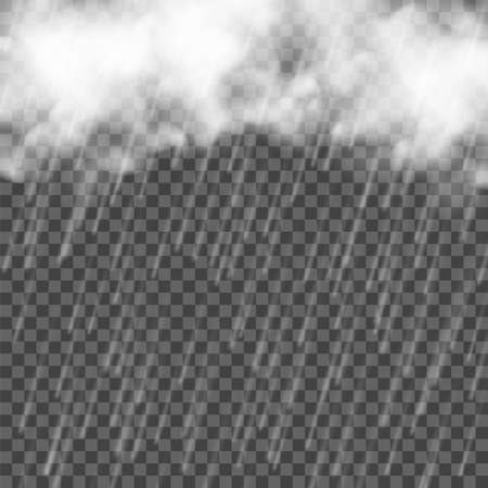 Rain with clouds. Falling water drops. Vector realistic storm on transarent background