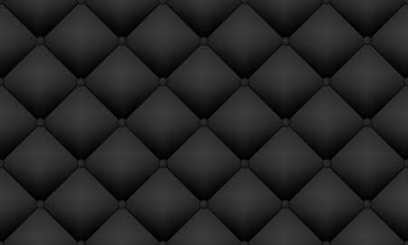 Upholstery soft quilted luxury background. Black velvel or leather texture. Vector seamless pattern