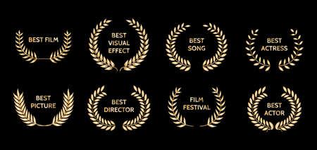 Gold film awards. Golden award wreaths. Vector illustration