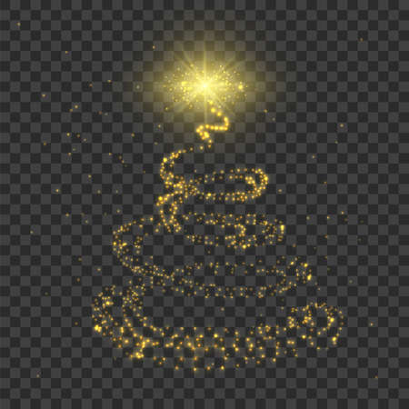 Christmas tree. Gold lighting sparcle effect. Vector realistic shiny garland