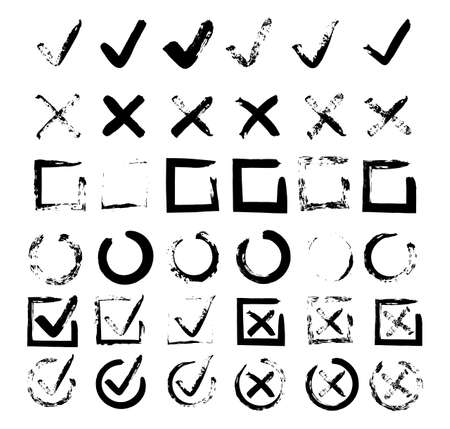 Checkbox. Check signs V X. Chalk and brush checkmarks set. Vector set