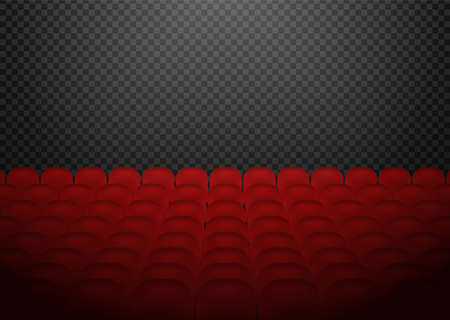 Red cinema or theater seats. Movie time. Rows in auditorium. Vector realistic illustration