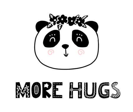 More hugs scandinavian cartoon cute panda. Nordic funny print for nurcery room. Vector cartoon card