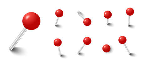 Red push pins. Pinned office thumbtack. Vector pushpin attach collection 向量圖像
