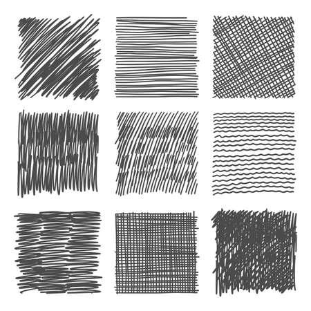 Hatch clipart. Scribble sketch pencil texture. Scratch pen grunge shape 向量圖像