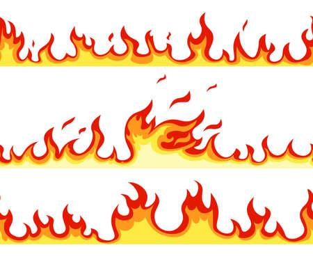 Seamless fire flame. Cartoon orange bonfire effect. Vector template