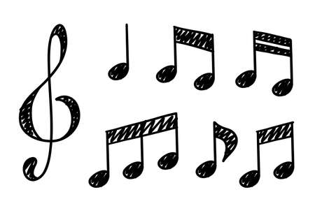 Hand drawn music notes. Doodle hand drawn sound notation. Vector illustration 向量圖像