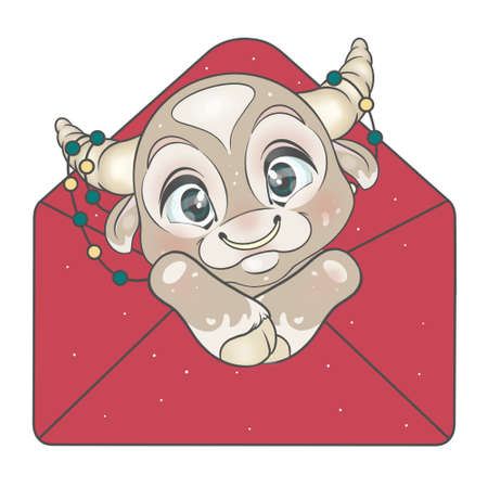 Isolated bull in an envelope