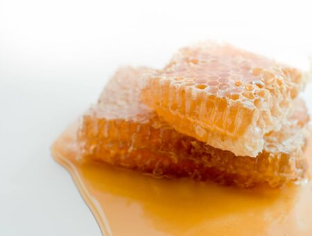 Large pieces of natural honeycombs are in a puddle of fresh honey.