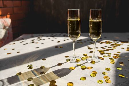 Two glasses of champagne as a symbol of New Years celebration. Stok Fotoğraf