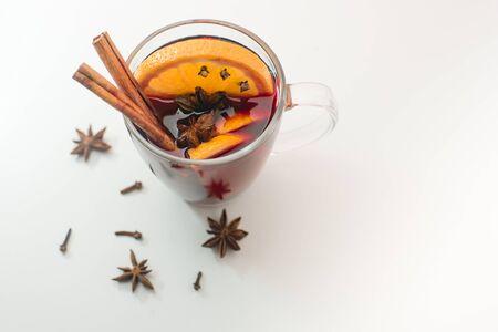 A mug of hot homemade mulled wine.