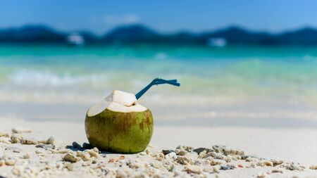 Drinking coconut with two straws on a tropical beach. Archivio Fotografico - 136302418